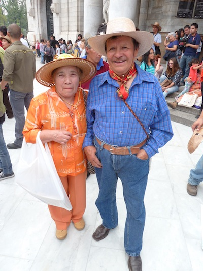 Delfino Santillán Castillo and his wife attended the carnival because they fear Monsanto will threaten their ability to continue growing and selling native corn seed. (WNV / Alex Mensing)