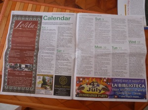 Local English-language newspaper. Ads include an upcoming 4th of July celebration. Photo by author.